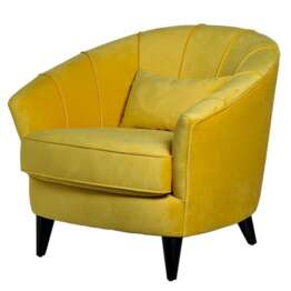 Amour Curved Back Velvet Chair Yellow